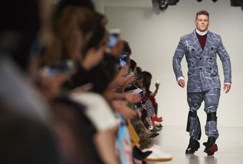 Jack Eyers Walks Forteatum Jones Autumn Winter 2017 Collection At London Fashion Week Photo Afp