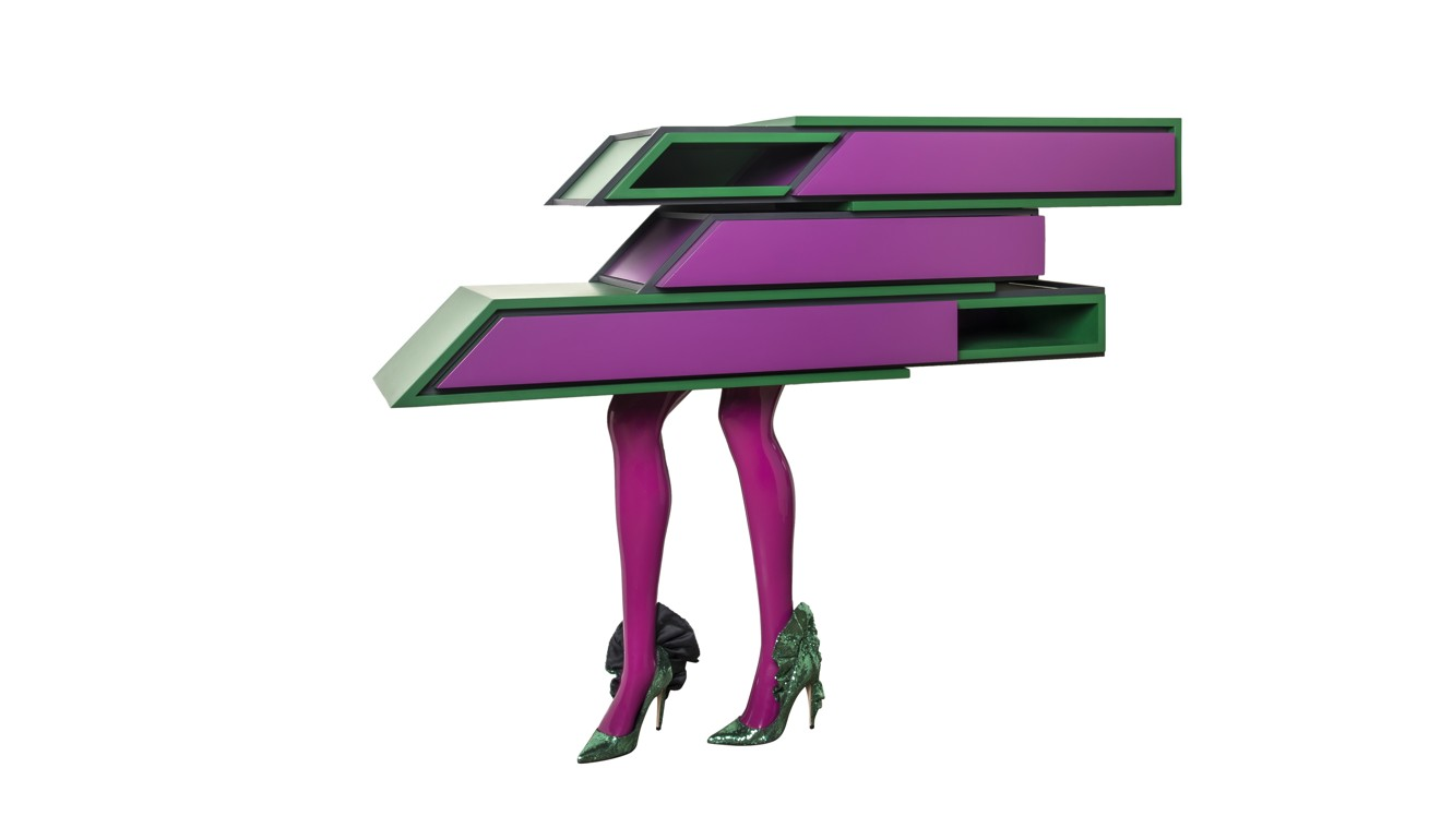 Vick Vanlianu0027s Peculiar Multidecked Console With Table Legs Dressed In  Sequinned Heels From Fashion Designer Zuhair Muradu0027s Latest Collection