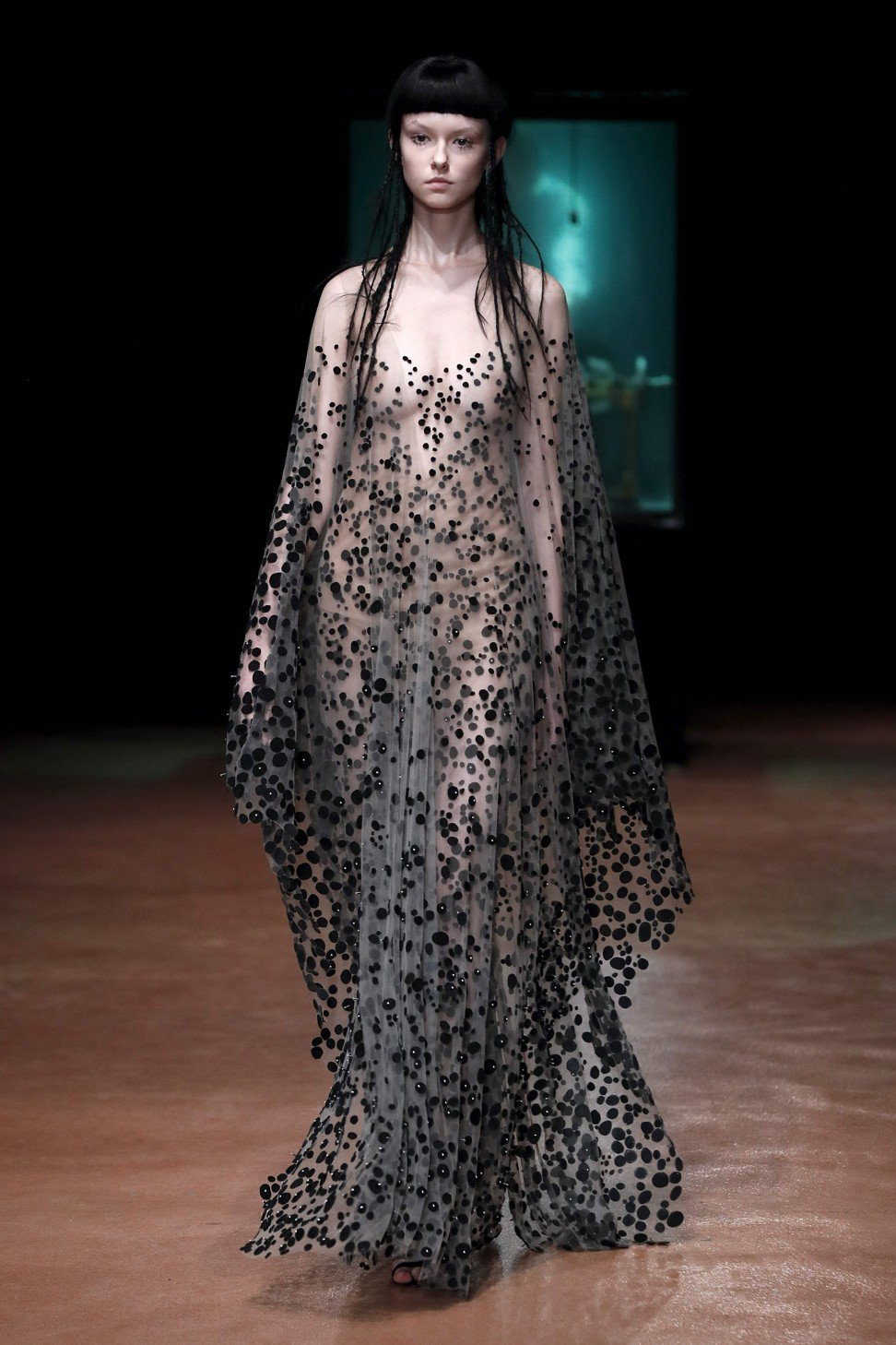 A Model Presents An Edgy Gown By Iris Van Herpen At Her Haute Couture Autumn Winter 2017 2018 Show In Paris Photo Afp