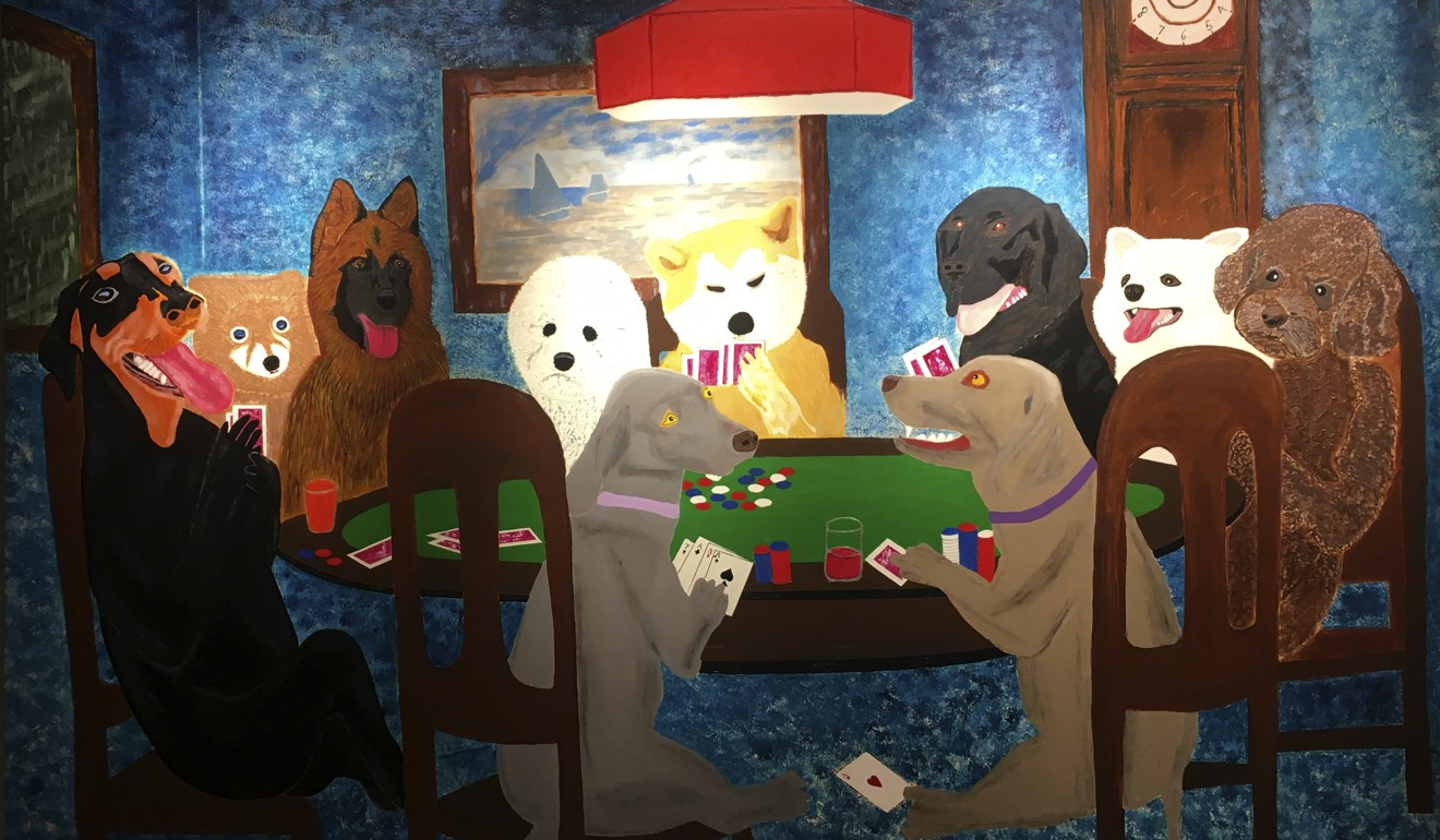 Jubilant Gathering, a work by Peng, depicts 10 dogs playing poker. Photo: Peng Hong-ling