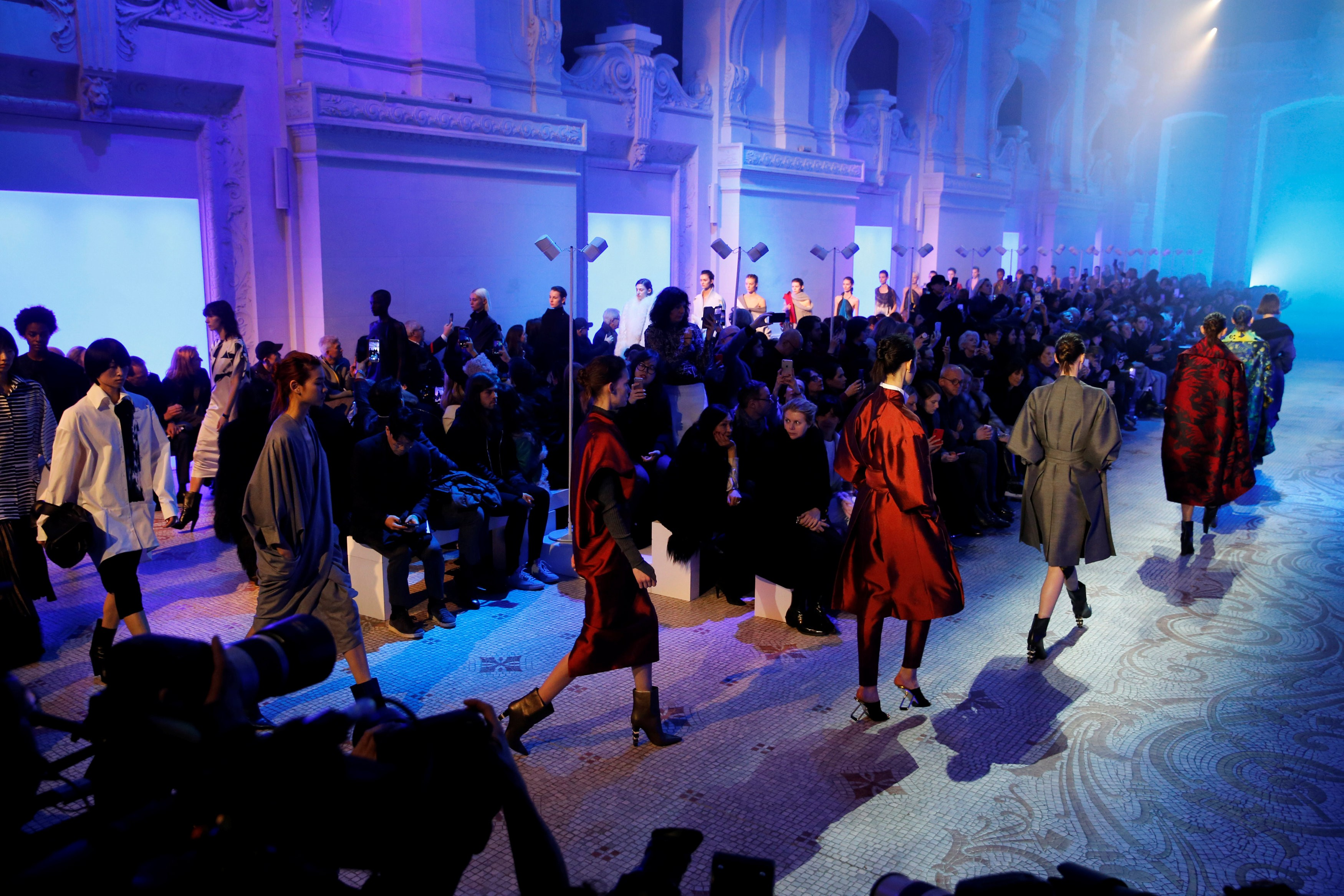 Models Present Creations By Designer Yiqing Yin As Part Of Her  Autumn/winter 2018/2019 Womenu0027s Ready To Wear Collection For Fashion House  Paul Poiret During ...