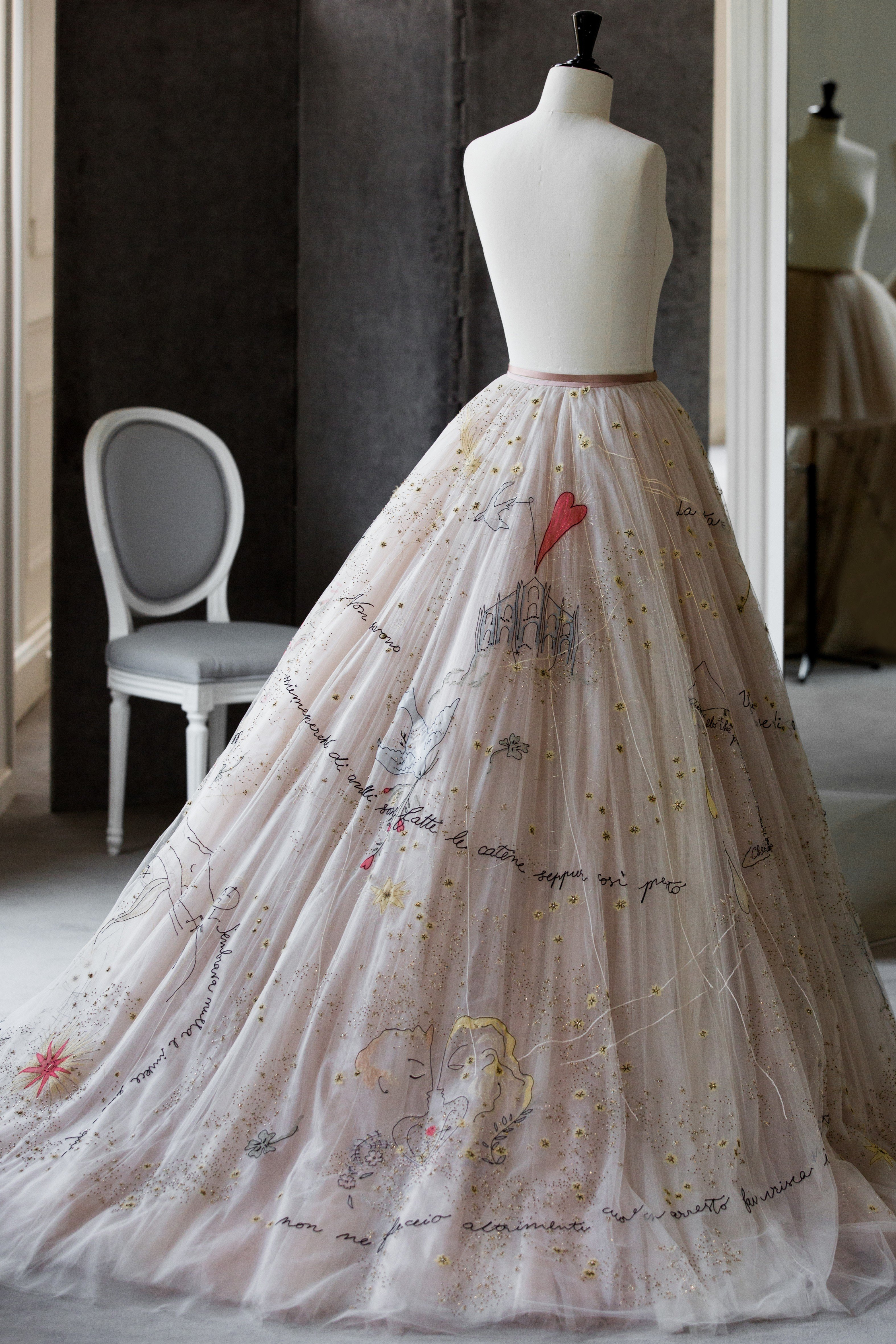 Italian Fashion Blogger Chiara Ferragni S Dior Evening Dress Which Features Extensive Embroidered Images Based On The Words Of A Song Her Rer Husband