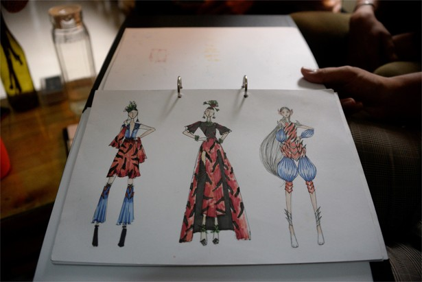 Sketches of dresses that represent the Indochinese tiger facing extinction. Photo: Didem Tali cambodian designers turning trash and recyclables into high fashion Cambodian Designers Turning Trash and Recyclables into High Fashion 4af6c36c af31 11e8 b224 884456d4cde1 615x 122041
