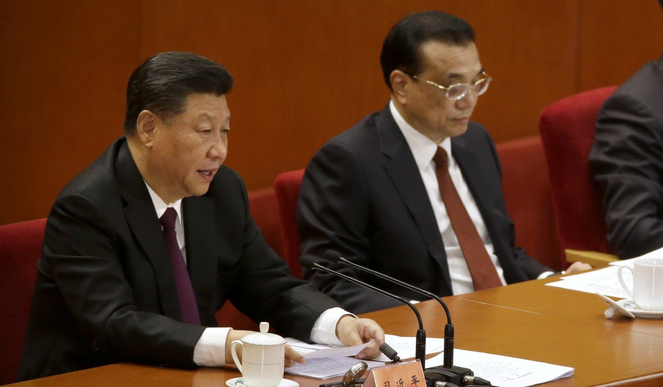 From left: Chinese President Xi Jinping and Premier Li Keqiang at the 40th anniversary commemorations of reform on Thursday. Photo: AP