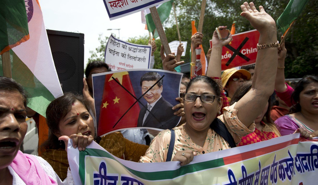 Right wing Indian activists protest against a Chinese decision to suspend the pilgrimage to Kailash Mansarovar, believed to be the abode of Lord Shiva, from Nathu La Pass following tension between troops along the India-China border. Photo: AP