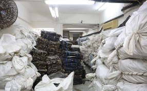 A warehouse in Hong Kong holds a large shipment of shark fins. Photo: Gary Stokes/Sea Shepherd Global
