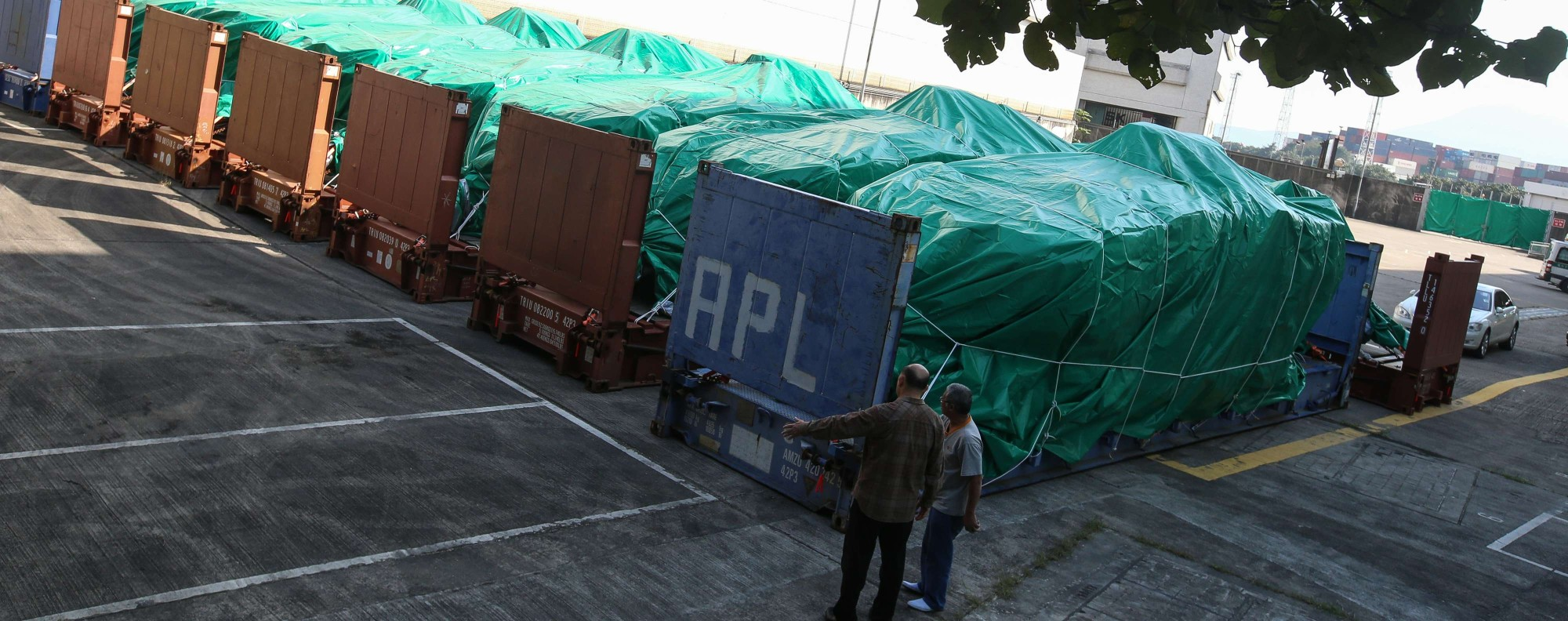 Singapore's military vehicles seized in Hong Kong. Photo: SCMP