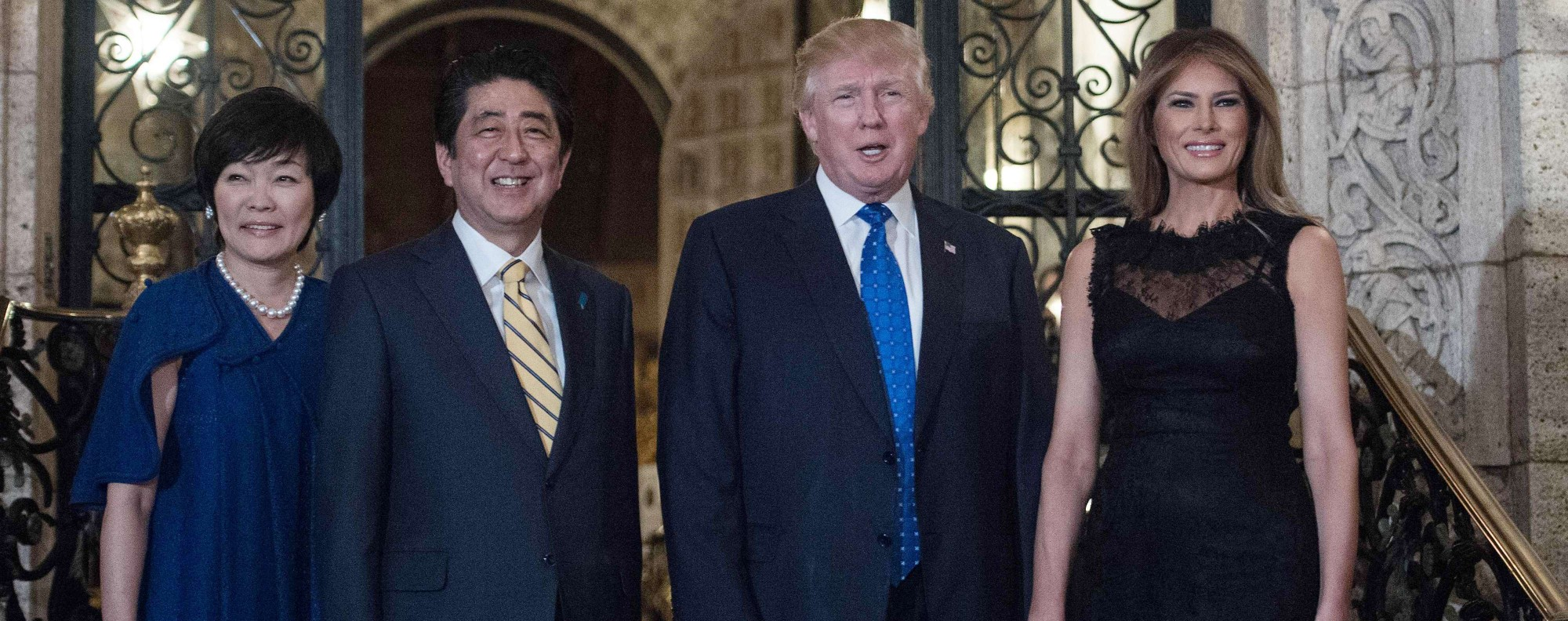 Japanese Prime Minister Shinzo Abe and his wife Akke Abe with US President Donald Trump and First Lady Melania Trump at the Mar-a-Lago resort in Palm Beach, Florida. Photo: AFP