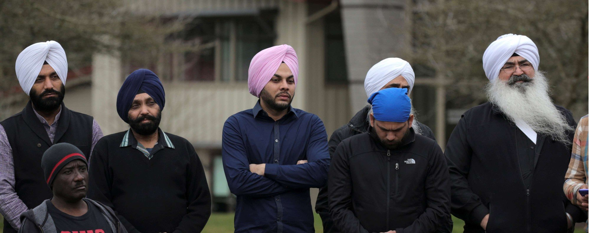 Sikh men at a vigil in Bellevue, Washington. Photo: Reuters