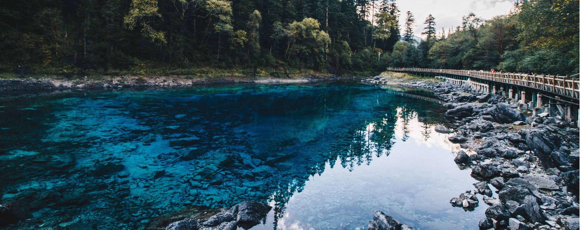 The Five Coloured Pool, in Jiuzhaigou national park, Sichuan province.