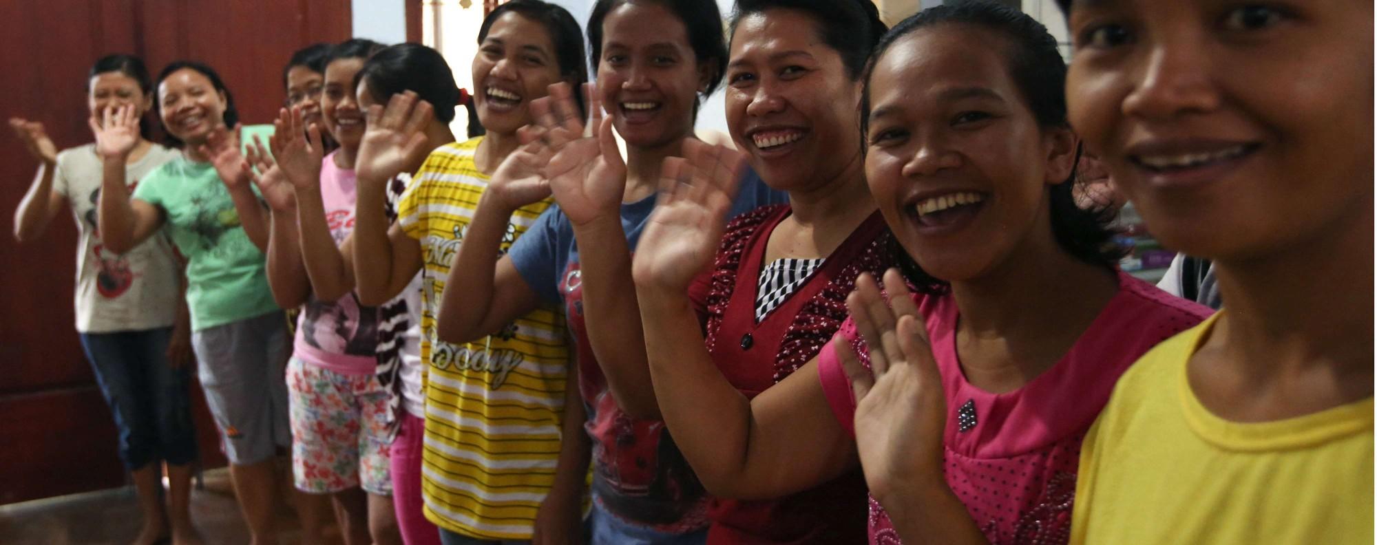 Domestic helpers train in Indonesia. Photo: Sam Tsang
