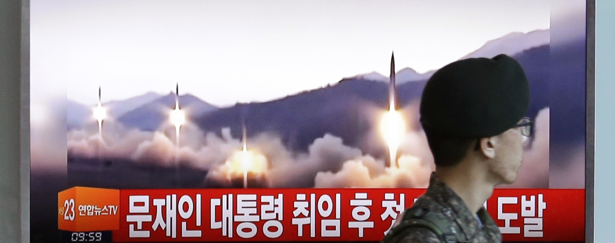 A television shows a North Korea missile test. Photo: AP