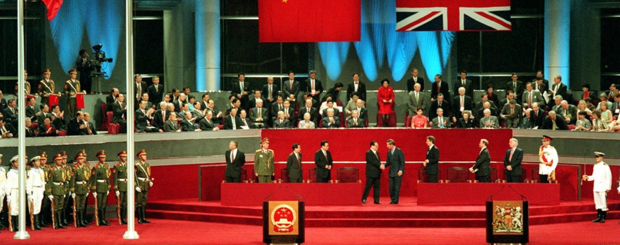 The handover ceremony, at the Convention and Exhibition Centre, in 1997.