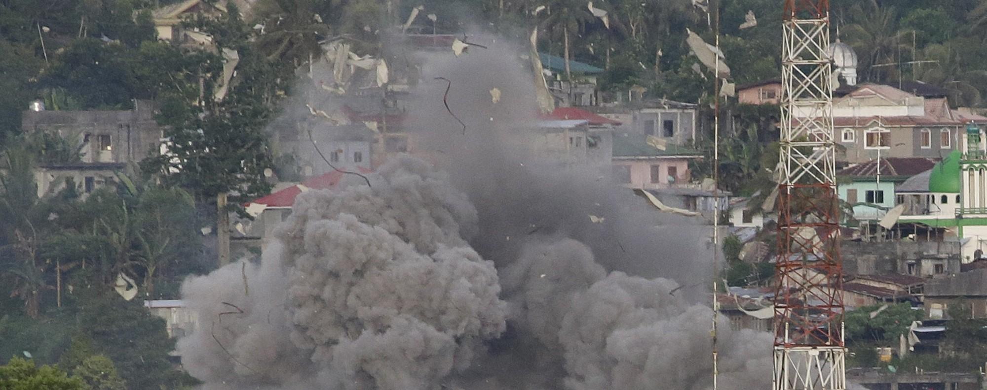 Government jets bomb Marawi. Photo: AP