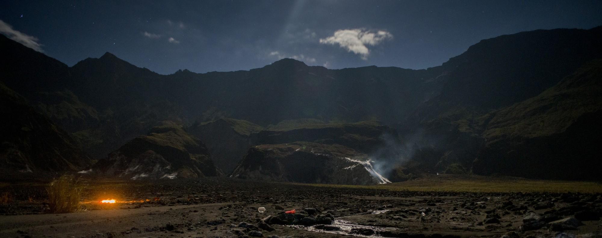 The caldera of Mount Tambora on the Indonesian island of Sumbawa.