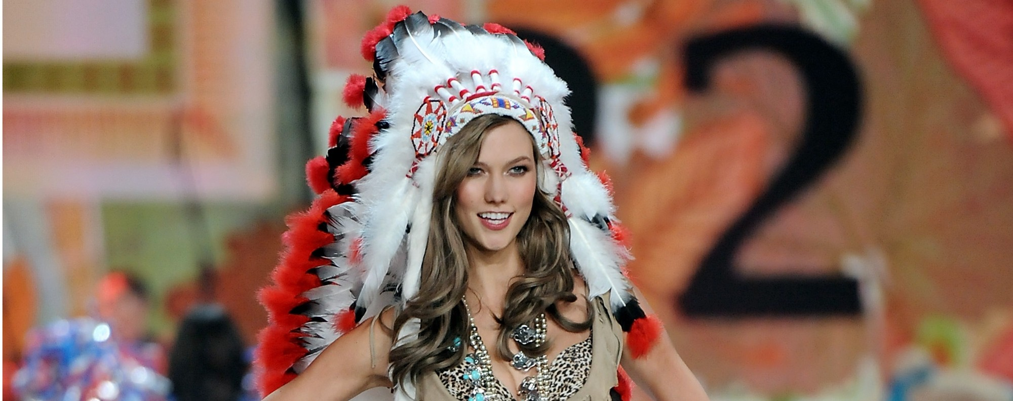 Karlie Kloss wearing an native headdress during the 2012 Victoria's Secret Fashion Show in New York. Photo: AP