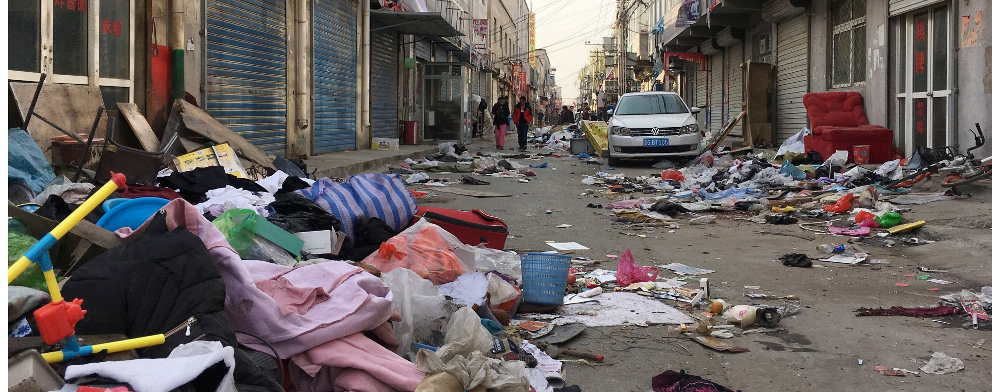 Discarded items from evicted residents in Xinjiancun, Beijing. Photo: Reuters