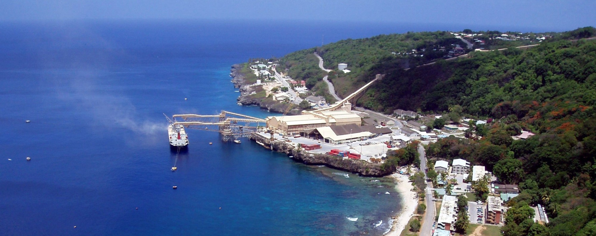 Phosphate-processing plants dominate Christmas Island's harbour.