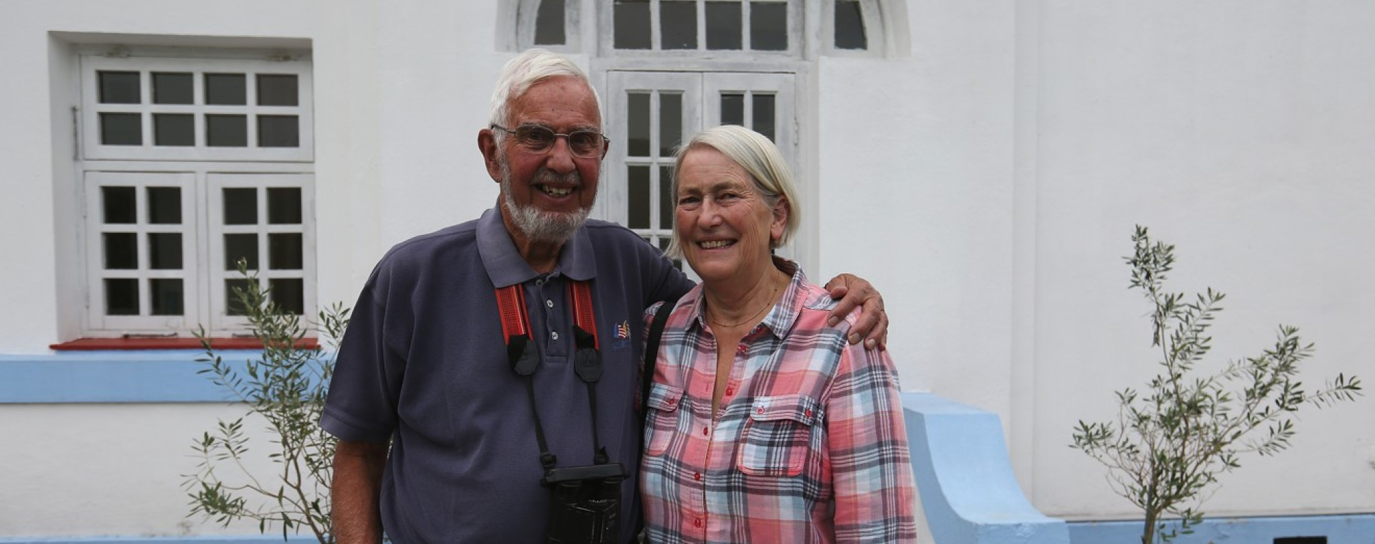 Dr Jim Flegg and his wife, Caroline, at the Tai Tam cottage. Photo: Xiaomei Chen.