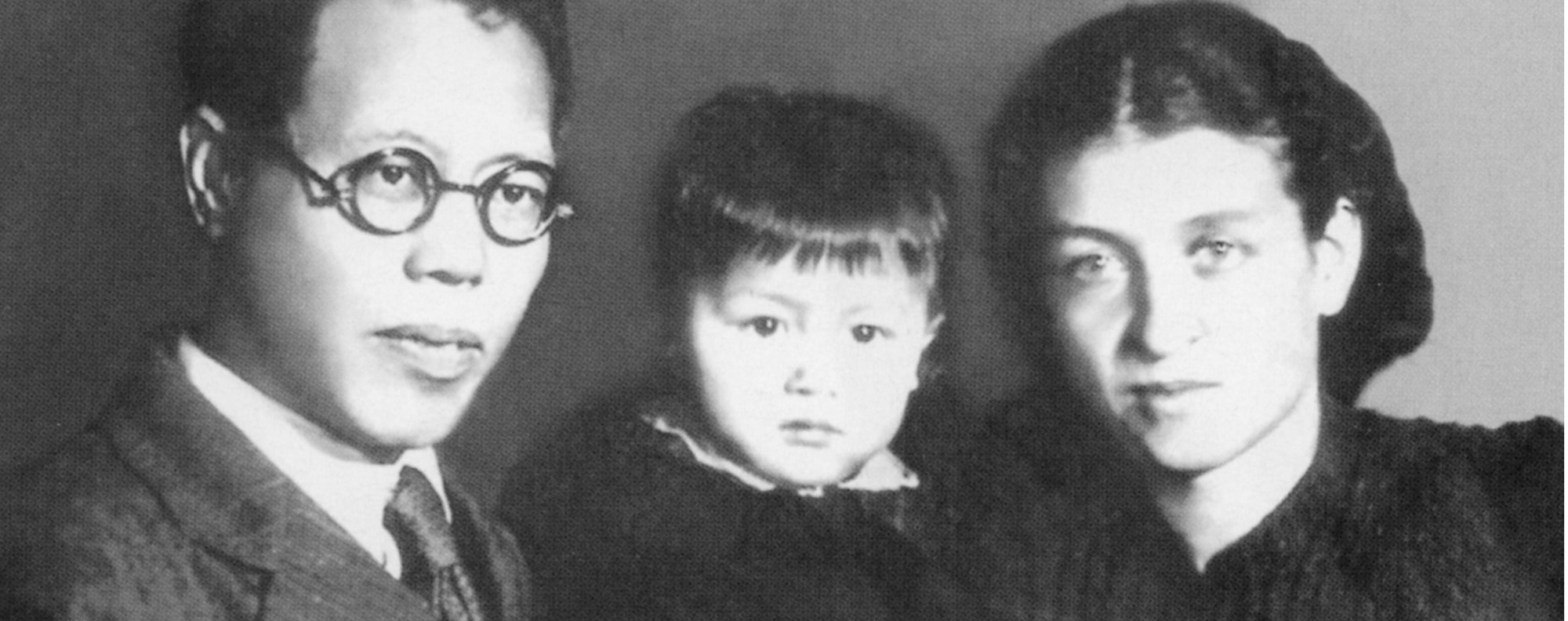 Chinese Communist Party leader Li Lisan with his Russian wife and daughter.
