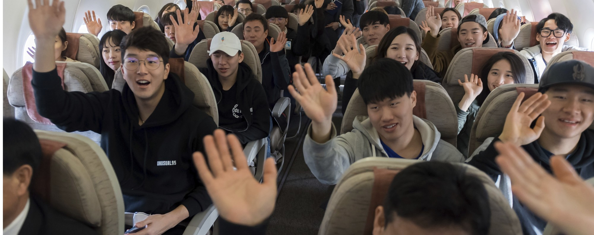 South Korean Olympic skiers fly to North Korea. Photo: AP