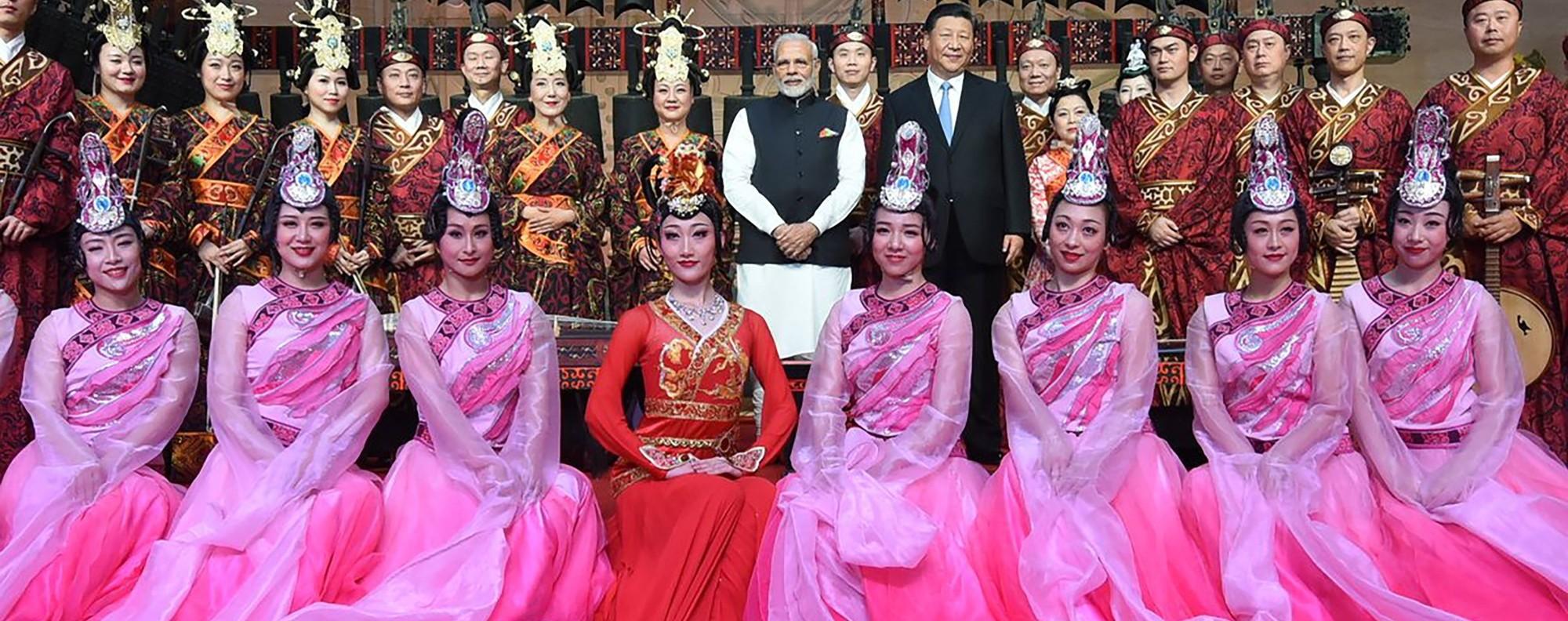 Narendra Modi and Xi Jinping at the Hubei Museum. Photo: AFP
