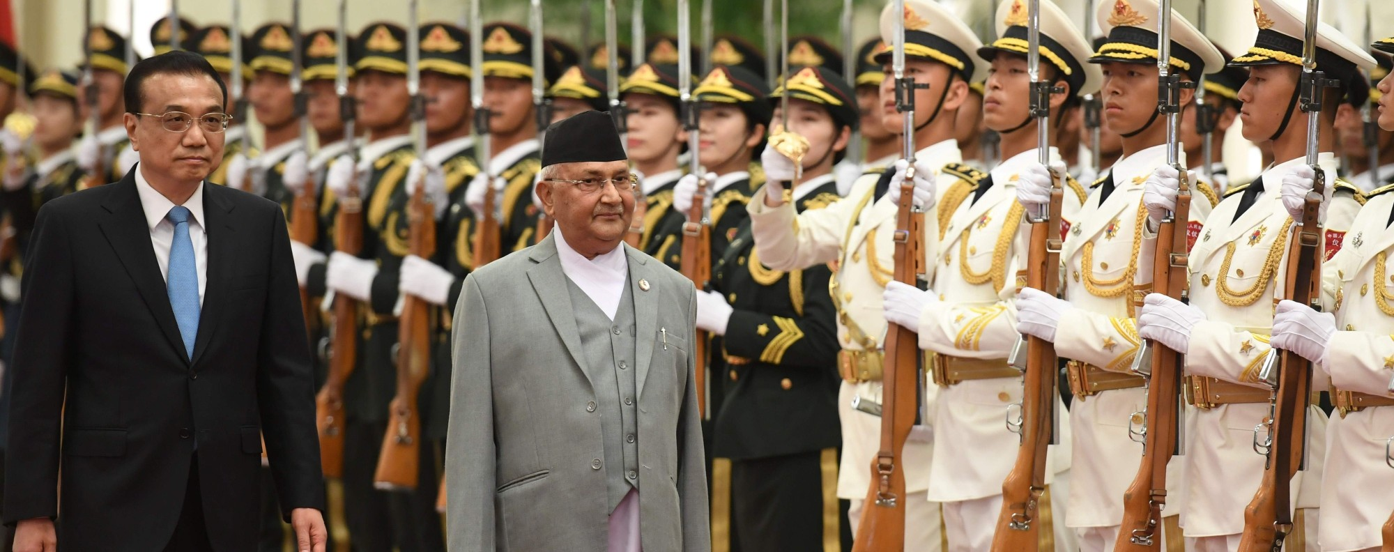 Nepal's leader K.P. Sharma Oli visits Beijing. Photo: AFP