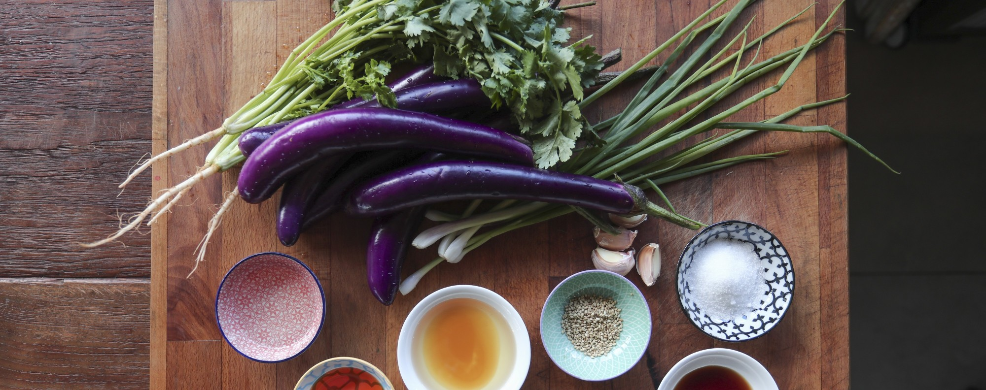 Ingredients for steamed eggplant with spicy sesame sauce. Picture: Jonathan Wong