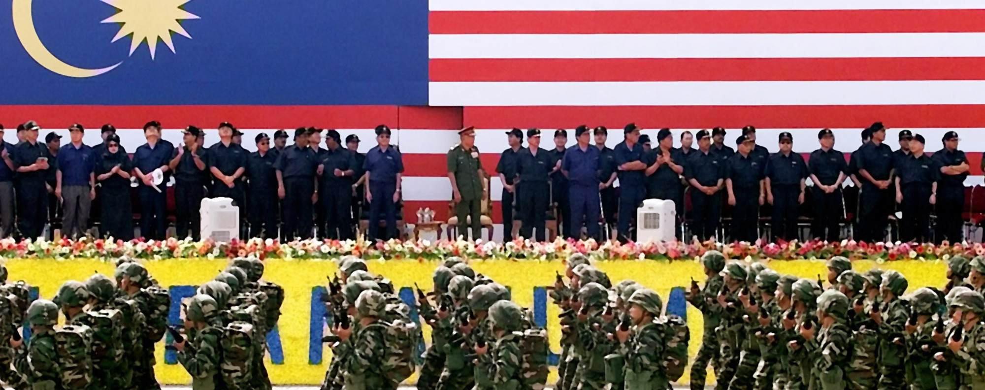The Malaysian military on parade in Kuala Lumpur's Independence Square. Photo: AP