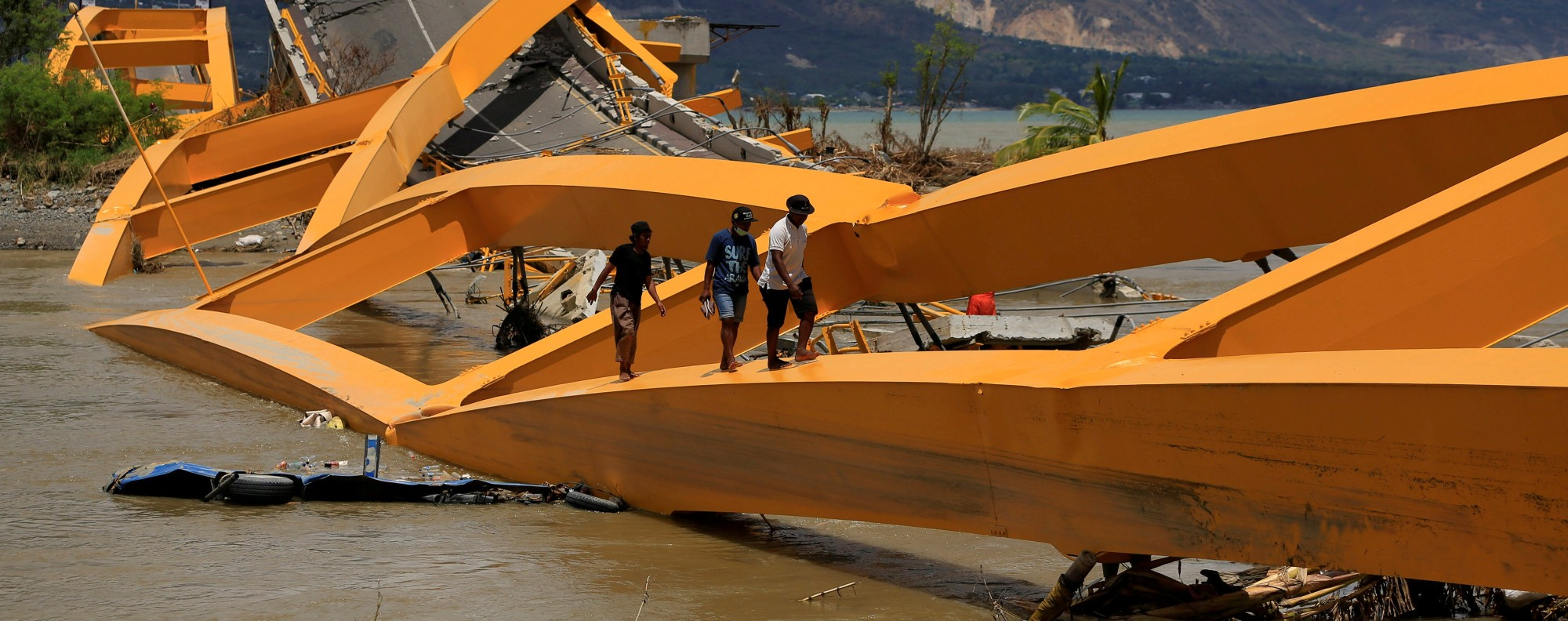 A broken bridge in Palu. Photo: Reuters