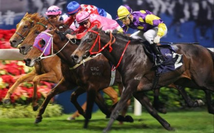 Noble Deluxe (outside) narrowly wins the fourth leg of the series for trainer Peter Ho to give Joao Moreira the title. Photo: Kenneth Chan
