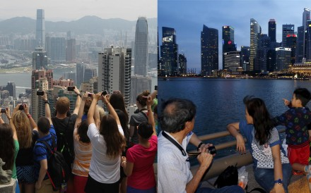 The skylines of Hong Kong (left) and Singapore have both been transformed.Photos: Edward Wong, Reuters