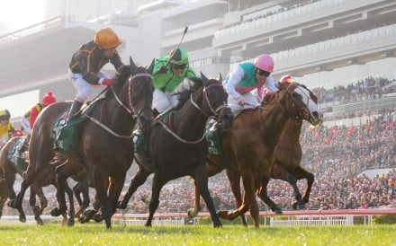 Able One just hold off Cityscape and Xtension in a blanket finish to win the Hong Kong Mile. Photo: Kenneth Chan
