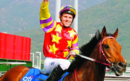 Tommy Berry celebrates as he returns aboard Designs On Rome after the pair reunited to win the Hong Kong Gold Cup. Photos: Kenneth Chan