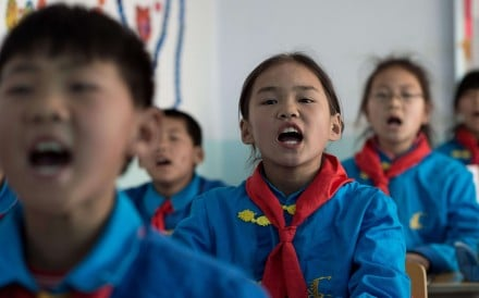 Children learning Manchu at Sanjiazi school in Heilongjiang province. Photo: AFP