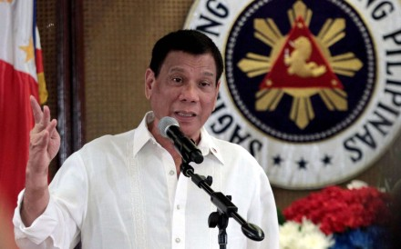 Filipino President Rodrigo Duterte speaking during a meeting inside the Malacanang presidential palace in Manila. Photo: EPA