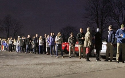 People queue up to vote in the Ohio town of Deerfield. The state went Republican. Photo: EPA