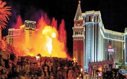 The Las Vegas volcano - proof you are no longer in Kansas.