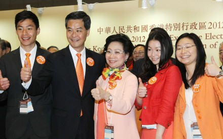 Leung Chung-yan (far right) with her brother Leung Chuen-yan, father Leung Chun-ying, mother Regina Leung Tong Ching-yee and sister Leung Chai-yan in 2012. Photo: Edward Wong
