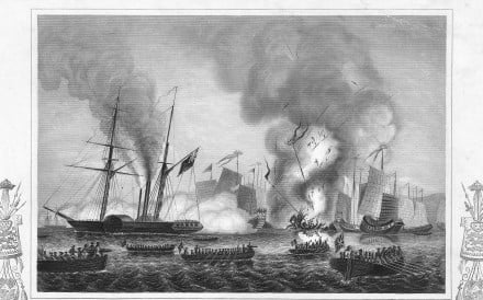 The East India Company's steamship Nemesis is depicted launching an attack with rowboats during the Opium Wars. Image: Handout