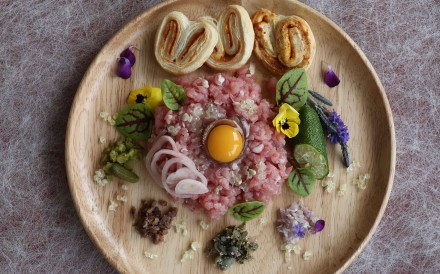 Veal tartare with pickled shallot, finger lime and parmesan-paprika palmiers is impressive enough to serve at a dinner party