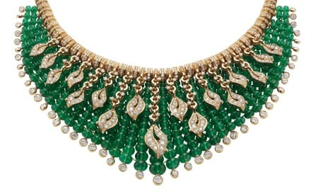 Giardini tialiani necklace made with 347 round emerald beads (total 245ct) and complemented with diamonds