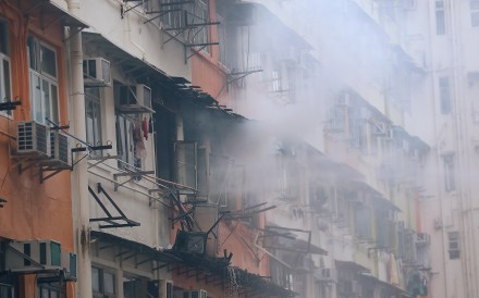 A fire at a residential flat in To Kwa Wan in May. Photo: Edward Wong