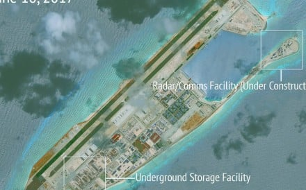 A satellite image released by the Asia Maritime Transparency Initiative showing Chinese construction work on Fiery Cross Reef in a disputed area of the Spratly Islands in the South China Sea. Photo: Reuters