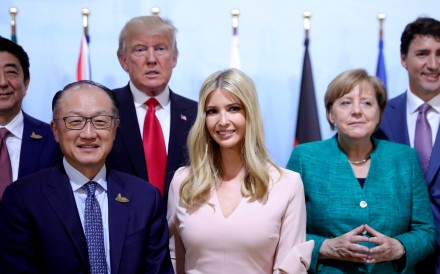 US first daughter Ivanka Trump takes her place among elected world leaders, including her father Donald Trump, and World Bank President Jim Yong Kim (front row, left), at the Women's Entrepreneurship Finance event during the G20 leaders' summit in Hamburg, on July 8. Photo: Reuters
