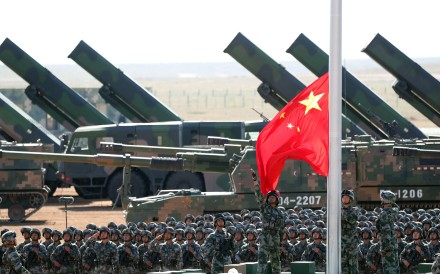 A flag-raising ceremony is held during a military parade celebrating the 90th anniversary of the founding of the Chinese People's Liberation Army (PLA) at Zhurihe training base. Photo: Xinhua