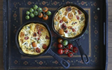 Roasted cherry tomato, goat cheese and comté clafoutis. Photography: Jonathan Wong. Styling: Nellie Ming Lee