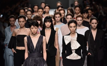 Models in the finale of Anirac's spring-summer 2018 show at Shanghai Fashion Week.