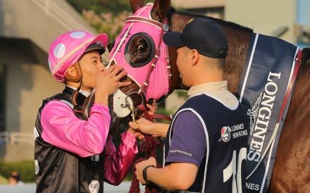 Derek Leung kisses Beauty Generation after winning the Hong Kong Mile. Photos: Kenneth Chan