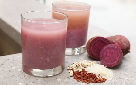 A purple sweet potato and oats rice water mocktail from CheckCheckCin in Sheung Wan, where customers can choose the drink which corresponds to how their body is feeling that day. Photo: Felix Wong